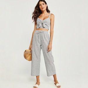 NWT A&F Wide Leg Cropped Linen Blend Pants Large
